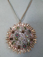 NWT Auth Betsey Johnson Pinktina Pink Beaded Medallion Long Pendant Necklace