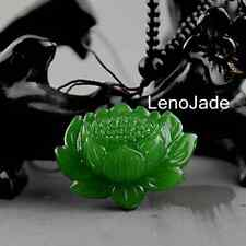 Chinese Natural  jade green jadeite lotus pendant Hand-carved  necklace