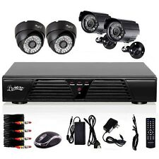 4 CH Channel CCTV DVR Night Vision Home Security System Kit+4 In/Out Cameras
