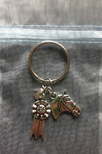 Pony & Horse Keyring with Bridled Head, Rosette & Heart Ideal Equestrian Gift