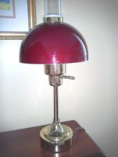 Vintage Maroon Dome Tole Shade Brass Mid Century Modern Desk Table Reading Lamp