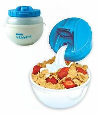 Stay Fit DLX Cereal to Go EZ Freeze Plastic Container Cool Gear Breakfast Set 4