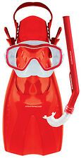 Mask Snorkel and Fin Set RED - Shrimp Junior Silitex - New - Suit Ages 5-12
