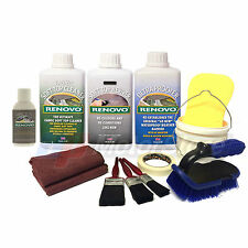 Renovo BLACK Convertible Hood Soft Top Reviver COMPLETE KIT + 50ml Window Polish
