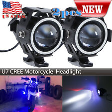 2PC 125W Black Motorcycle CREE U7 LED Projector Headlight For BMW Blue Eyes
