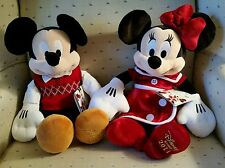 "Disney Store Holiday 2014 Mickey and Minnie Mouse Soft 15"" Plush toy - NEW Rare!"