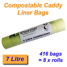 416 x 7 Litre Compostable Food Waste Caddy Liner Bags Biodegradeable