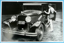 "12 By 18"" Black & White Picture 1929 Plymouth 4 Door With Model in high heels"