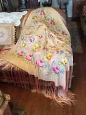Vintage Embroidered Piano Shawl