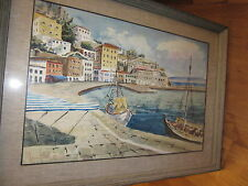 SIGNED ORIGINAL PAINTING - land/seascape unknown artist estate find framed glass