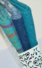 HARRIS TWEED FABRIC BUNDLES 'Turquoise Range' 4 SIZES AVAILABLE - LABELS & TAGS