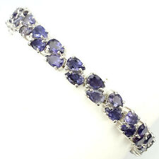 Sterling Silver 925 Genuine Natural Iolite Two Row Tennis Bracelet 7.5 Inch