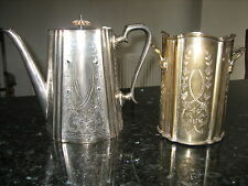 SILVER PLATE JORDAN SHEFFIELD COLLECTION COFFEE POT & WINE HOLDER