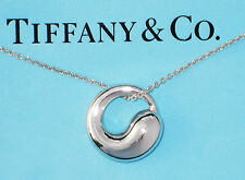 Tiffany & Co Elsa Peretti Sterling Silver Medium 17mm Eternal Circle Necklace