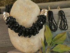 NECKLACE SET Black/Gold Natural Stone Chips Seed Beads Designer Stone Set