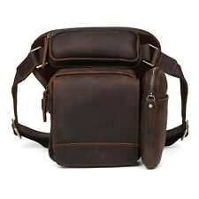 Men's Leather Shoulder Backpack Waist Bag Drop Leg Thigh Pouch Bike Motorcycle