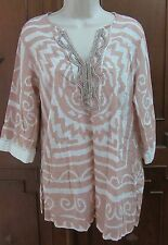 Soft Surroundings Tunic Top Cotton Coverup Boho Pink Beaded ethnic PM EUC