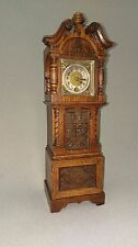 German Antique Lenzkirch Clock In A Miniature Grandfather Oak Black Forest Case
