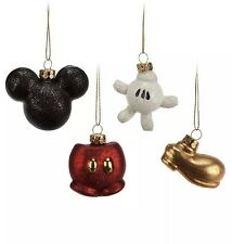 Disney Mickey Mouse Glass Ornament Christmas Decoration Set Icon Head Glove Shoe