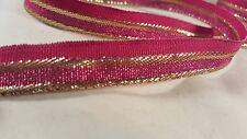 1.5cm- 2 meter Elegant pink and gold ribbon lace trimming for arts crafts