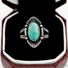 Antique Vintage Sterling Silver Native Pawn Navajo Royston Turquoise Ring Sz 4