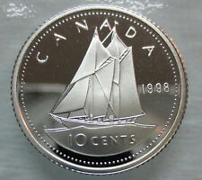 1998 CANADA 10 CENTS PROOF SILVER DIME COIN