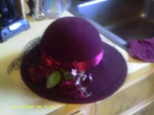 IMPORTINA BURGUNDY WINE HAT WITH FLOWERS RIBBON NETTING TUILE PICTURE MOVIESTAR