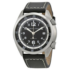 Hamilton  Khaki Pilot Pioneer Automatic Black Dial Black Leather Mens Watch