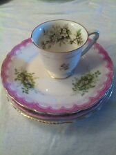 GERMAN TEA CUP (3) SAUCERS PAINTED PRETTY FLORAL PATTERN Mixed Lot