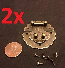 2x Lock hinge mini dollhouse Antique Bronze wood latch Sets Box Case small c1