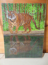 10 1/2 X 7 1/2 Original Painting By Artist Fran Frank ~Testing The Water ~Tiger