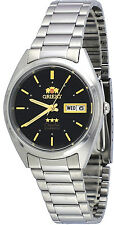Orient FAB00005B Men's 3 Star Stainless Steel Black Dial Date Automatic Watch
