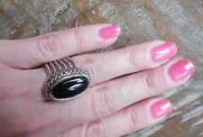 "NEW Gorgeous ""Look of Fine"" Oval Black CZ Ring Amazing 6 Cable shank size 9"