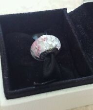 Genuine Pandora Murano Glass Charm Bead with Pink and White Flowers S925 ALE