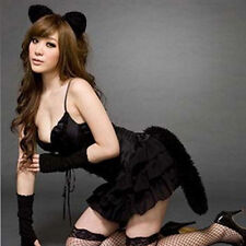 Sexy Black Cat Cosplay Costume Uniform Sexy Womens Lingerie Temptation Nightwear