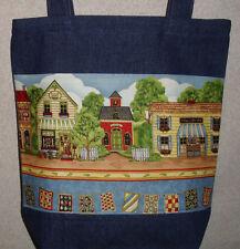 NEW Handmade Large Craft Village Shops Denim Tote Bag