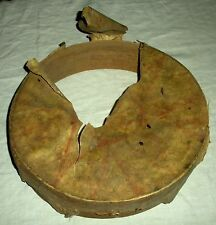ANTIQUE c. 1840 PLAINS NATIVE AMERICAN INDIAN HIDE DRUM W/ RED PAINTED SUN vafo
