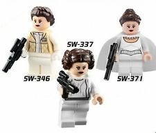 3 PCS Set Lot Princess Leia 3 Styles Star Wars Lot Minifigures Blocks Bricks Toy