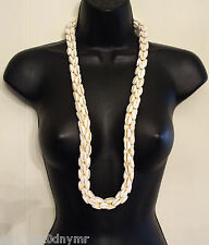 Beautiful VTG Cowrie Shell Necklace Natural 3D Sea Shell 4 rows strung together
