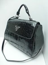GUESS Women's Handbag*Bay View*Black w/Crocodile Print Satchel Shoulder Purse