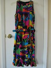 OSCAR DE LA RENTA STUDIO...MULTI COLOR SLEEVELESS 100% SILK DRESS. SIZE 8