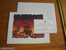 """Disney Pirates of the Caribbean ships Lithograph 11x14"""" MIP embossed MIP w/COA"""