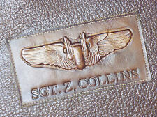 WW2 Leather Aerial Gunner Wings / Custom Name Tag Combo / A2 Flight Jacket