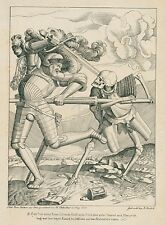 Lithographie 1823 nach Hans Holbein H. Oedenthal Prag A. Machek Ritter und Tod