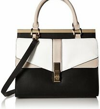 New NWT Aldo Paterno Satchel Color Block Cross body Handbag Black White Beige