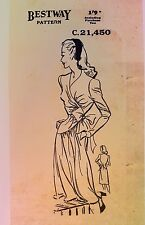 VINTAGE anni'40 BESTWAY Londinese Abito da sera giorno * * * Lungo/breve-Sewing Pattern-b36