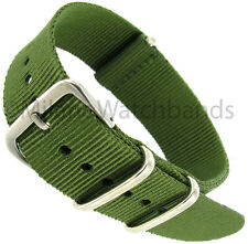 20mm Milano Nylon Fabric Canvas Olive Green Military Army Watch Band Strap
