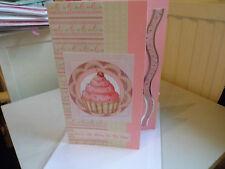 Handmade Cupcake Birthday Card saying You're The Cherry On My Cake Blank Insert