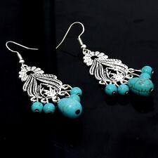 Women Vintage Tassel Silver Tibetian Turquoise Hook Long Earring Dangle xing