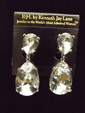 NWT Kenneth Jay Lane KJL Jolie Clear Crystal Teardrop Drop Clip On Earrings